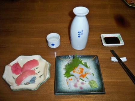 Tuna sushi and squid sashimi