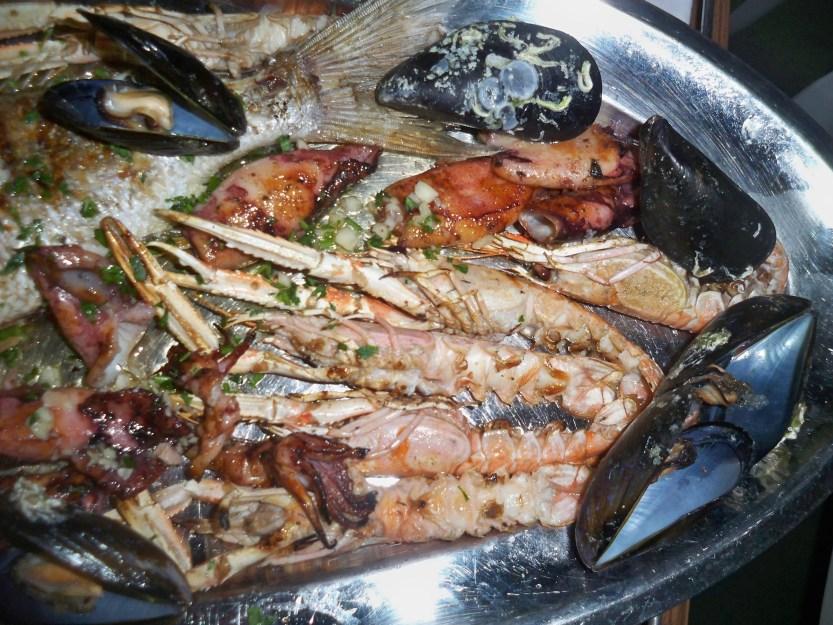 Squid Langoustines, Mussels