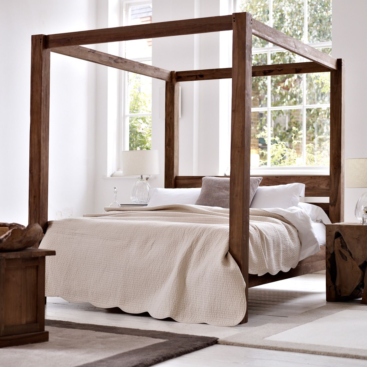 crown solid sheesham wood canopy bed online furniture store in sardarshahar