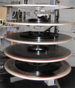 Pictured here is the Ritz Film Spindle, which is soon to be obsolete with new Digital Movie Projectors. (Photo by Theresa Dunlap)