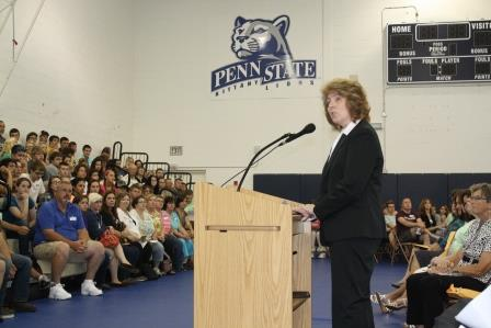 Chancellor Melanie Hatch welcomed new students and their families during Convocation Ceremonies Thursday in the campus gymnasium.  (Provided photo)
