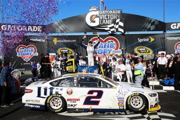Enter the leader, leave the leader.  That is what Brad Keselowski did at Chicagoland Speedway.