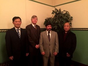 Pictured are: Xue Feng (Governor of Lanling County), John Sobel (Clearfield County Commissioner), Tony Scotto (Clearfield County Commissioner Elect) and Su Yuntao (Mayor of Lanling Town). (Provided photo)