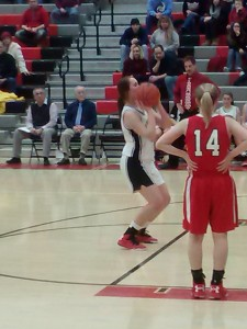 Senior Rachel Glenny setting up to hit a clutch 4th quarter free throw in the Lady Bison win over Bellefonte (Photo by Jay Siegel)