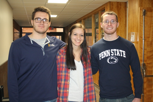 Penn State DuBois THON Dancers for 2017, left to right, Jake Coalmer, Chanice Britton and Jacob Skubisz. (Provided photo)