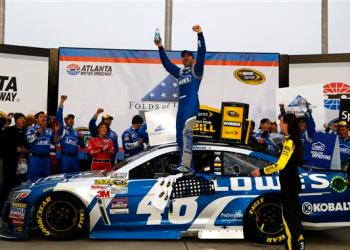 He never got to qualify on Friday due to inspection issues.  But, Johnson was highly qualified to win.