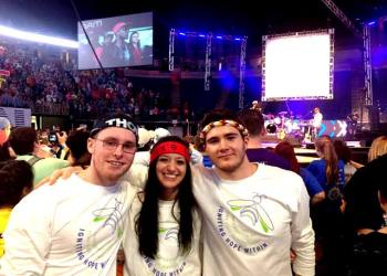 The Penn State DuBois THON Dancers, left to right, Jacob Skubisz, Chanice Britten and Jake Coalmer, on the floor during THON 2017.  (Provided photo)