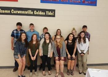 In the front row, from left to right, are: Macy McLaughlin; Alexandria Foster; Paige Fudalski; Emily Kizina; Melissa Mackey; and Nora Gill. In the back are: Zack Reams; Devon Dixon; Chance Timko; Sara Baker; Breanna Lockett; and Kirtus Kanouff. (Provided photo)