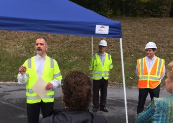 Aqua Pennsylvania President Marc Lucca explained the importance of replacing important water and wastewater infrastructure this morning at a news conference at the site of a water main replacement at the Treasure Lake community in Sandy Township. (Provided photo)