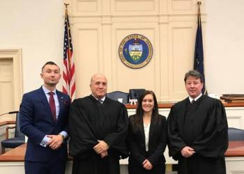 Pictured are Attorney Eric E. Cummings; Judge Paul Cherry; Attorney Shiann B. McGovern; and Judge Fredric Ammerman. (Provided photo)