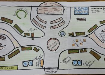 A hand-drawn map shows a proposed design for a community garden in Rebecca Park in Clearfield Borough. The project is being proposed by Penn State student Rachel Duke as part of her capstone requirement. Duke is hoping to work with local businesses and the Clearfield Borough Council to make the project a reality. (Photo by Kimberly Finnigan)
