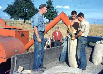 Pictured are Charles Smith and his sons, Frank on the tractor, Larry in the middle and Clyde on the right, in Goshen Township. (Provided photo)
