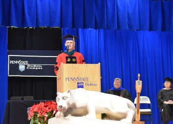 Barbara Reinard, assistant teaching professor in the campus Physical Therapy Assistant program, offered the commencement address on Thursday evening. Reinard is also the winner of the 2017-18 DuBois Educational Foundation Educator of the Year Award.  (Provided photo)