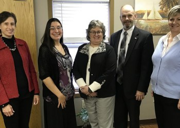 Pictured, from left, are: Marlene Austin, executive director, PASSAGES Inc.; Mary Tatum, director, CAC-CC; Karen Baker, CEO, PCAR; William A. Shaw, Jr., Clearfield County district attorney; and Robin McMillen, legal advocate, PASSAGES Inc. (Provided photo)