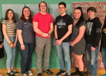 Pictured, from left, are cast members, Crystal Jasper (Mrs. Lovett), Hannah Majofsky (Lucy), Emily McGarvey (Pirelli), Gerry Lowe (Sweeney Todd), Jeremy Magnetti (Anthony), Raylene Simmers (Johanna), Caleb Cossick (Judge Turpin) and Grace Kozak (Tobias).  Not pictured is  Kyle Stiver (Beadle). (Provided photo)