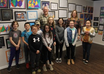 Students and teachers from the Clearfield Elementary School attended the art show at the Susquehanna River Arts Center of Clearfield.  From left are: Abrielle Hodanish, Brett Fletcher, Kaleb Samsel, Tucker Scott, Megan Shobert, Katie Peacock, Caitlyn Albertson, Ava Hoover and Ellie Weible and Mr. Sam Richards and Mrs. Renee Shaw, Clearfield Elementary School art teachers. (Provided photo)
