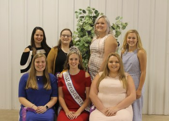 Pictured, in front from left, are: Kyrsten Ruch; reigning fair queen Jayna Vicary; and Madison Niebauer. In the back are: Rebecca Liddle; Sarah Simcox; Karter Bell; and Sydney Spencer. (Photo by GANT News Editor Jessica Shirey)