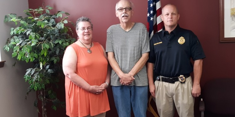 Pictured, from left, are: Deb Gray of Clearfield Fire Department, Mayor Jim Schell and Police Chief Vincent McGinnis. (Photo by Wendy Brion)
