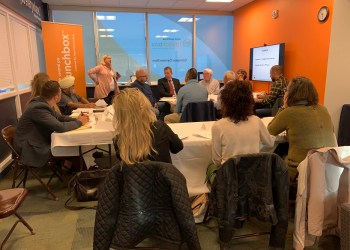Jill Edwards, executive director of Ben Franklin's Venture Investment Forum, speaks with BIG Idea finalists during a preparation meeting leading up to the pitch event. (Provided photo)