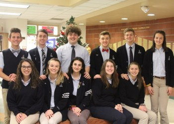 In the front row, from left, are: Emily Joseph, Allie Pittsley, Hannah Holdren, Martina Swalligan, Avery Sickeri and Faith Jacob. In the back are: Alex Jenkins, Johnny Ritsick, Parker Meholick, Dylan Foster and Jalen Kosko. (Provided photo)