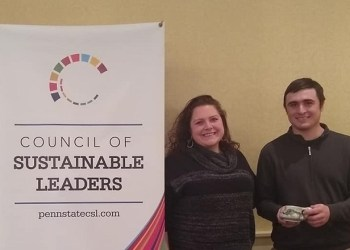 Pictured are Assistant Teaching Professor of Wildlife Technology Keely Roen with student Eli DePaulis at the awards ceremony where DePaulis received the John Roe Student Sustainability Award.  (Provided photo)