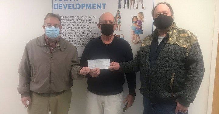 Clearfield County Charitable Foundation presents a check to the Mo Valley YMCA Anti-Hunger Program.   Pictured, from left, are: Mark McCracken, executive director, CCCF; Mel Curtis, Mo Valley YMCA director; and John Harpster, CCCF board member. (Provided photo)