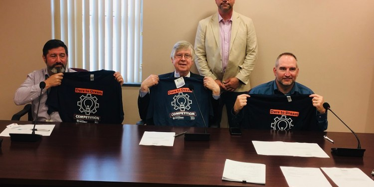 Pictured, in front from left, are: Commissioners Tony Scotto, John A. Sobel, chair, and Dave Glass. In the back is Brad Lashinsky, director of the North Central PA Launchbox at PSU DuBois. (Photo by GANT News Editor Jessica Shirey)