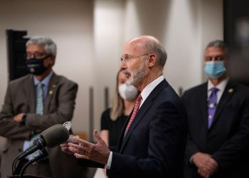 Gov. Tom Wolf criticizing a Republican election overhaul bill in Delaware County last month. Now that he says he's open to voter ID changes, Republicans plan to introduce an updated version of the legislation.  JOSE F. MORENO / Philadelphia Inquirer
