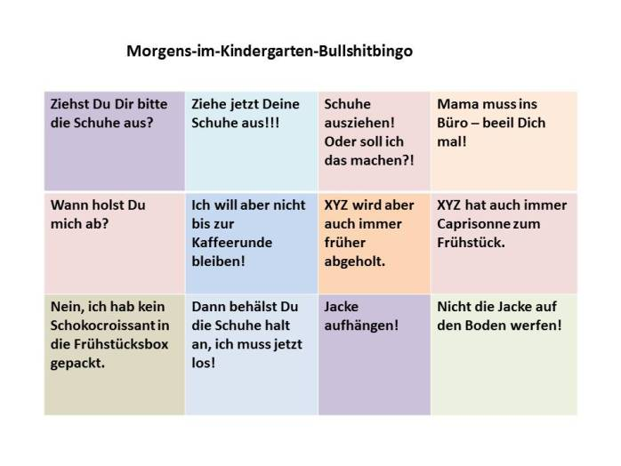 Bullshitbingo, Kindergarten, morgens, Stress am Morgen