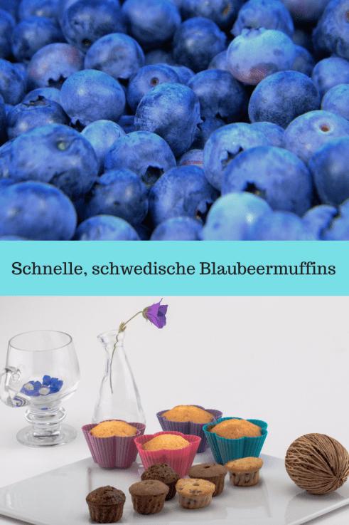 Rezept für Heidelbeeermuffins - Muffins mit Blaubeeren oder Heidelbeeren. Dieses Blaubeermuffin rezept stammt aus Schweden und ist schnell gebacken. Die Schwedischen Muffins sind mit wenig zucker und schmecken auch kindern. #rezept #backen #blaubeeren