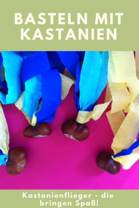 Basteln mit Kastanien: Diese Kastanienflieger lassen sich ganz schnell nachbasteln. Eine leichte DIY und Bastelidee für Kinder im Herbst. Und damit kann man sogar ncoch spielen.