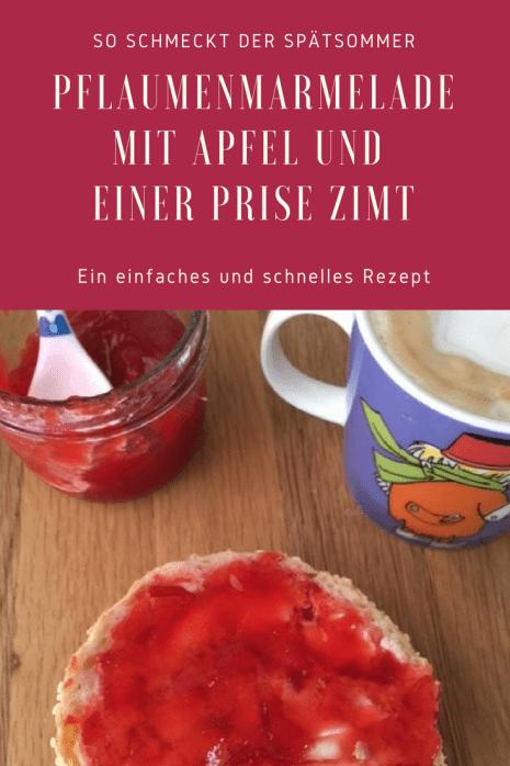 Einfaches Rezept für Pflaumenmarmelade mit Apfel und einer Prise Zimt, abgeschmeckt mit Zitrone. Fruchtig und lecker, so schmeckt der Sommer