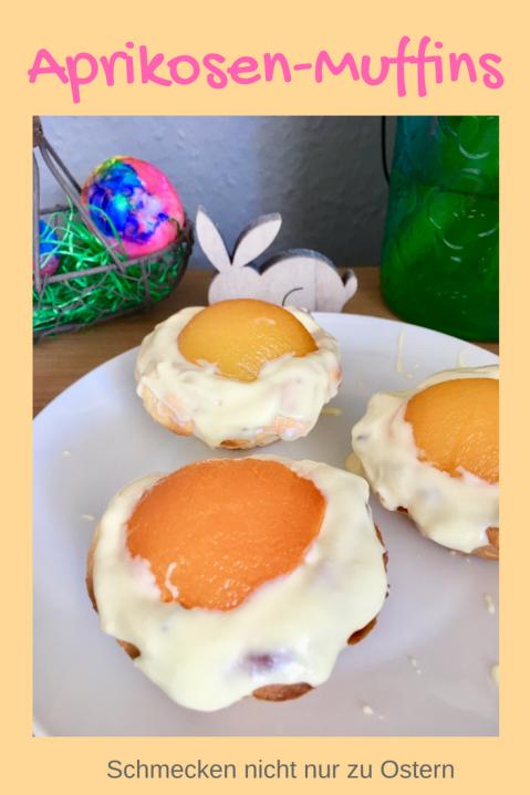 Leckere Oster-Muffins: Für jedes Osterbuffet. Diese Aprikosen-Muffins schmecken nicht nur zu Ostern, sehen schön nach Frühling auch und sind schnell zu backen. Leckere Muffins mit weißer Schokolade. #mufffins #backen #ostern