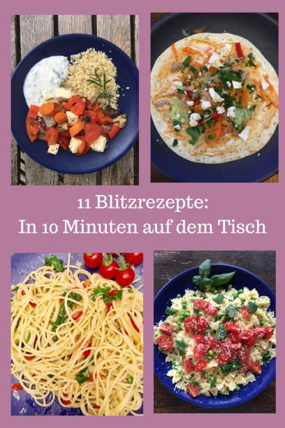 Ideen für schnelle Gerichte: Diese 11 Rezepte sind in weniger als 10 Minuten gekocht. Vorschläge für Abendessen oder Mittagessen plus Vorratsliste für eine schnelle Mahlzeit. #kochen #rezept