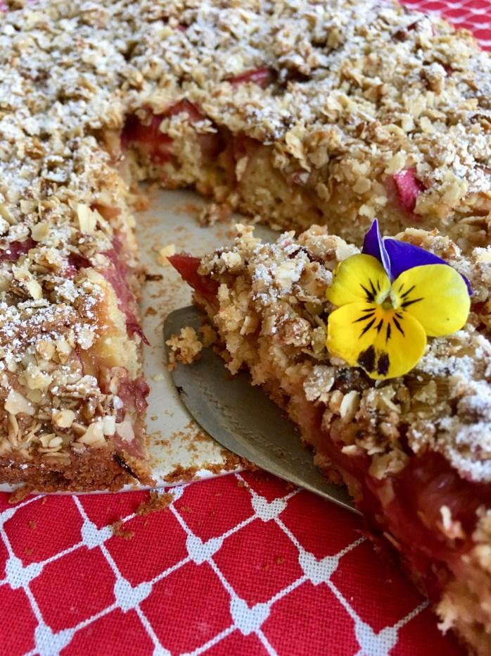 Schwedischer Rhabarberkuchen mit Haferflocken Streuseln und kokosblütenzucker