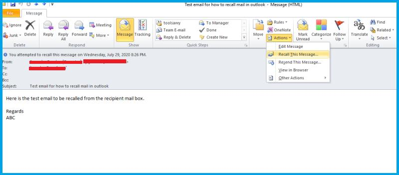 How to Recall mail from outlook in 2020(With Screenshots)