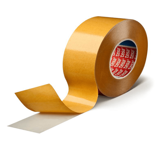 transparent double-sided self-adhesive tape consisting of a PET backing and a tackified acrylic adhesive