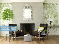 GAP Interiors - Leather chairs by fireplace - Image No ...
