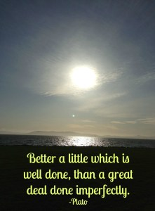 Quote by Plato - Better a little which is well done, than a great deal done imperfectly