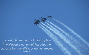 Image with quote by unknown - Learning is creation, not consumption. Knowledge is not something a learner absorbs but something a learner creates.