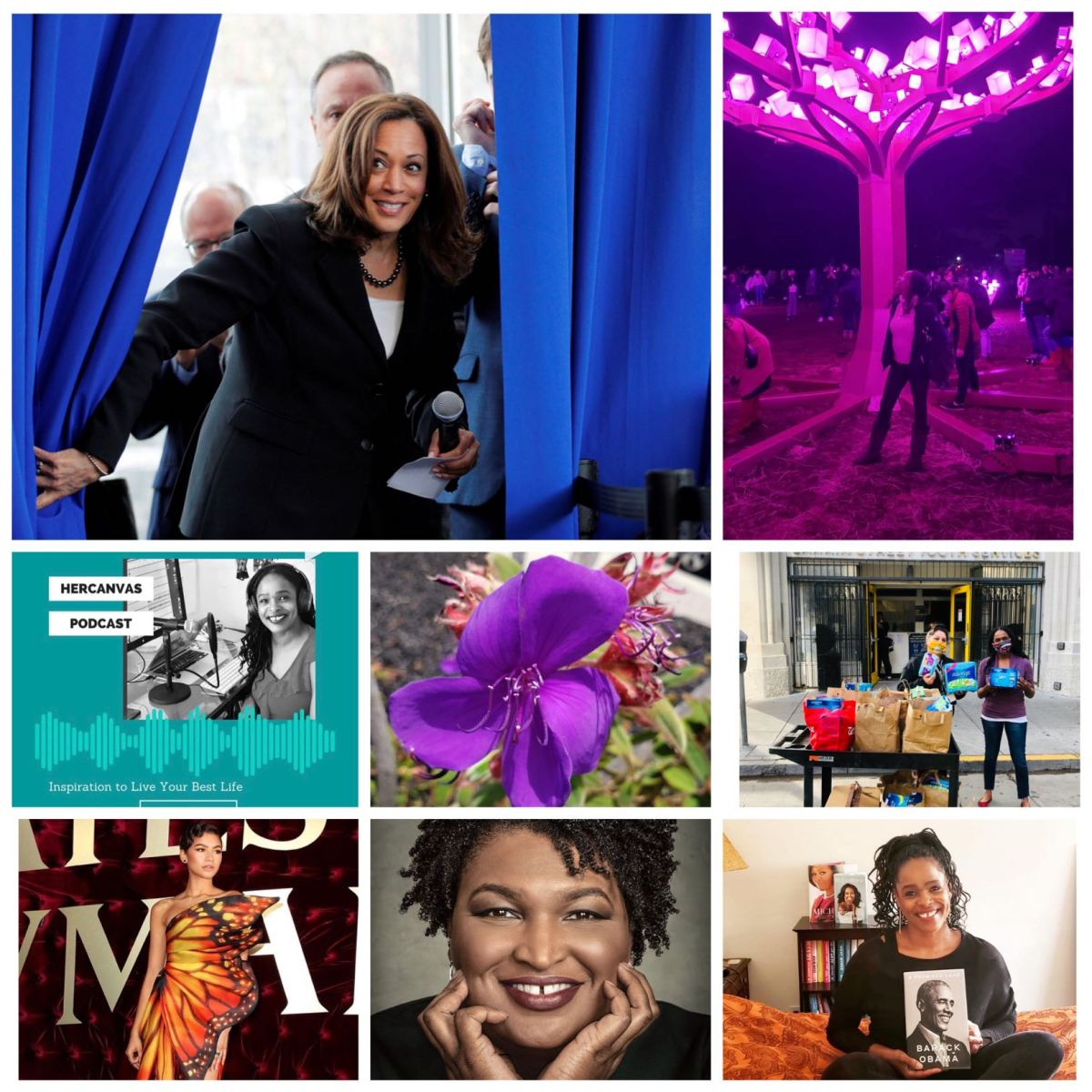Collage of photos - image of women delivering feminine hygiene products to Distributing Dignity, image of Zendaya sporting a fashionable gown, photos of VP Elect Kamala Harris and Stacey Abrams, photo of woman holding Barack Obama's book Promised Land, photo of beautiful purple flower, photo of HerCanvas podcast host, photo of woman looking up at a beautiful display of lights