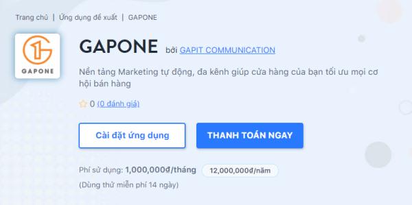 Cài đặt ứng dụng để sử dụng để đưa GAPONE về kho ứng dụng của bạn