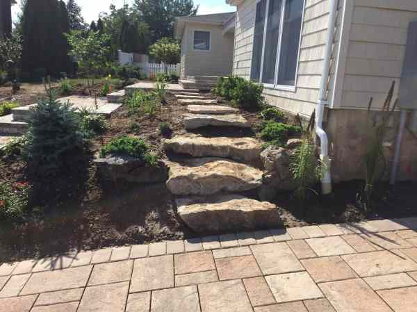 natural boulder step installation