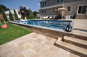 gunite pool with overflow spa