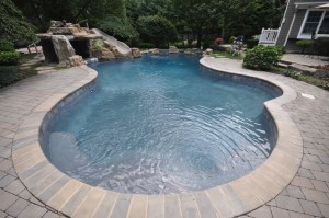 marble dusted gunite pool with gray plaster Smithtown NY by Gappsi