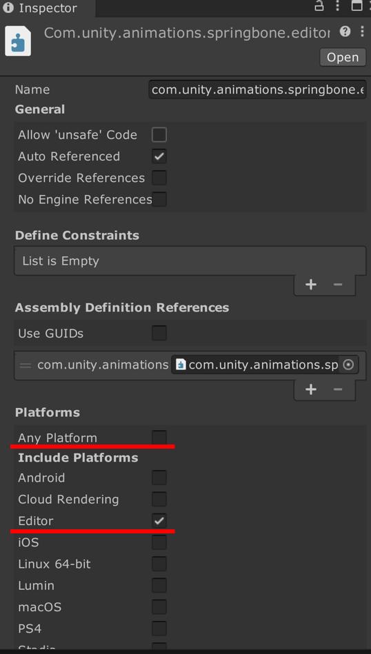 Assembly Definitionの設定の画像