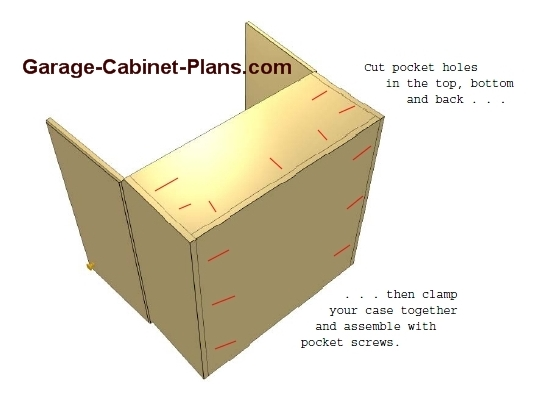 Garage cabinet construction garage cabinet plans for Building kitchen cabinets with pocket screws