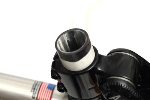 カーボンフロントフォークのコラムカット「Cannondale 2007 IRONMAN SIX13 SLICE Si 1」編