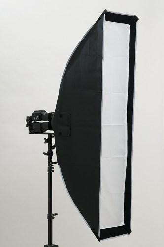 「ストリップ型30×120ソフトボックス」クリップオンストロボ×2台のF値測定