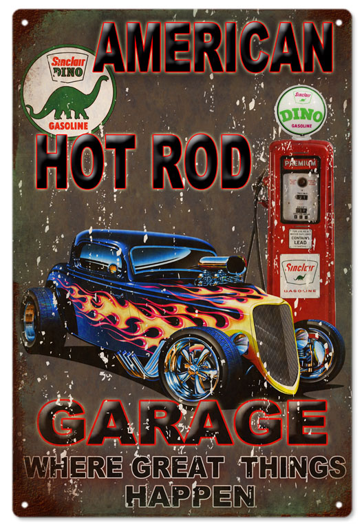 American hot rod sinclair sign classic garage art for American classics garage